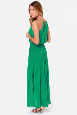 Chain-ge of Heart Green Maxi Dress