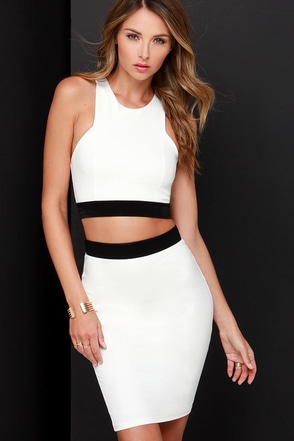 Evening in Monoch-Rome Ivory Two-Piece Dress at Lulus.com!