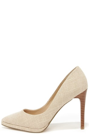 Charles by Charles David Plateau Tan Linen Pointed Pumps at Lulus.com!