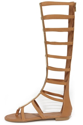 Roman Femme-pire Tan Tall Gladiator Sandals at Lulus.com!