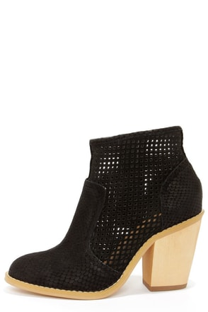 Kelsi Dagger Joy Black Leather Cutout Ankle Boots