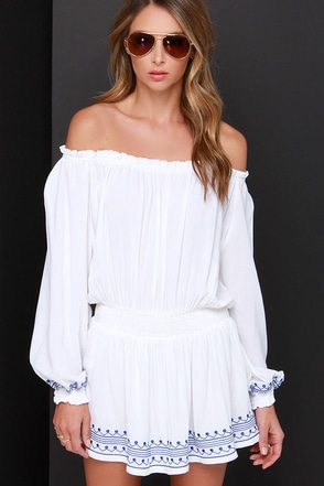 Piazza Passerby Ivory Off-the-Shoulder Embroidered Dress at Lulus.com!