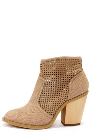 Kelsi Dagger Joy Sand Leather Cutout Ankle Boots