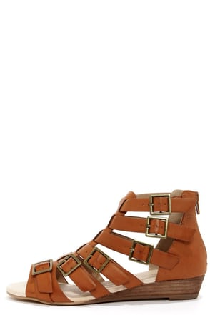 Restricted Deity Camel Buckled Gladiator Sandals