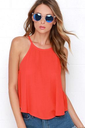 Halter-ior Motive Coral Red Crop Top at Lulus.com!