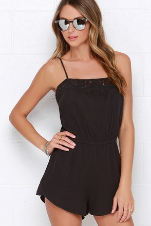 Billabong Salty Waves Washed Black Embroidered Romper at Lulus.com!