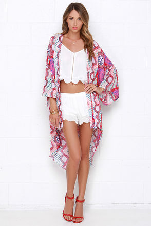 Mink Pink Sweet Like Candy Multi Print Kimono Top at Lulus.com!