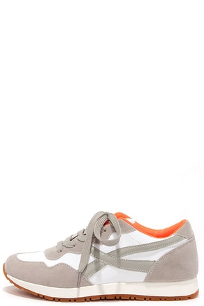 Running Man Stone Grey Lace-Up Sneakers at Lulus.com!