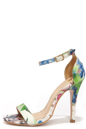 Fresh Picked White and Green Floral Dress Sandals at Lulus.com!