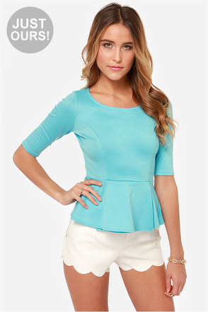 LULUS Exclusive Perk Up Blue Peplum Top