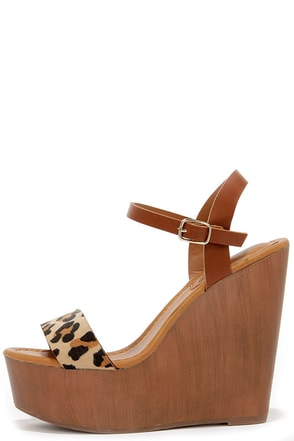 High Jinks Leopard Platform Wedge Sandals at Lulus.com!