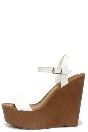 High Jinks White Platform Wedge Sandals at Lulus.com!