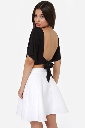 Confidential Cutie Backless Dusty Lavender Crop Top