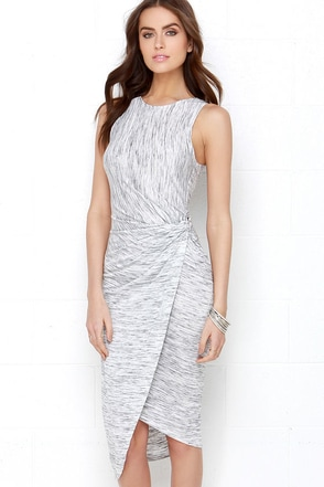 The Rain in Spain Grey and Ivory Marl Knit High-Low Wrap Dress at Lulus.com!