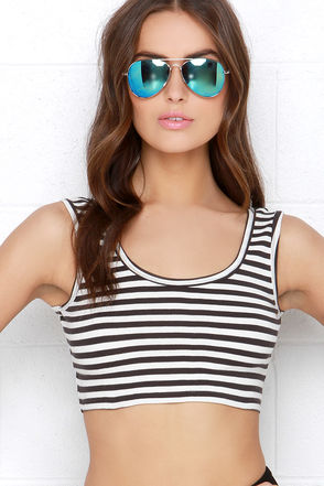 Billabong Name Game Black and Ivory Striped Crop Top at Lulus.com!