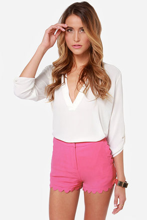 Scallop and At 'Em! Magenta Shorts