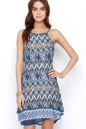 Ikat Even Blue Print Dress at Lulus.com!