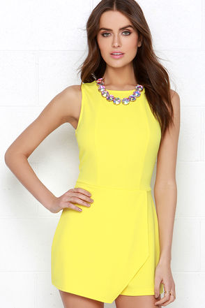 Here Comes the Fun Yellow Romper at Lulus.com!