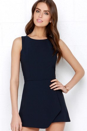 Everlasting Now Navy Blue Romper at Lulus.com!