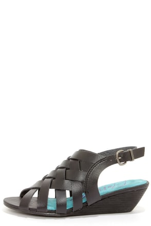 Blowfish Colette Black Peep Toe Sandals