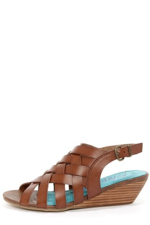 Blowfish Colette Whiskey Brown Peep Toe Sandals