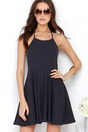 Mink Pink Time Flies Navy Blue Halter Dress at Lulus.com!