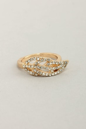 I Be-leaf in You Gold Rhinestone Ring
