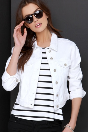 Mink Pink Full Moon White Distressed Denim Jacket at Lulus.com!