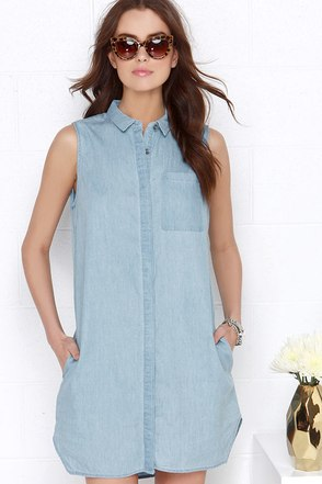 Whisked Away Blue Chambray Shirt Dress at Lulus.com!