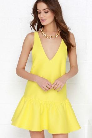 Bring to Light Yellow Drop Waist Dress at Lulus.com!