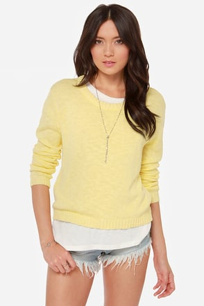 Mink Pink I Walk the Line Yellow Sweater