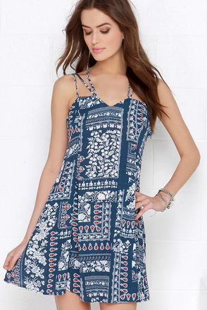 Backroad Beauty Navy Blue Print Dress at Lulus.com!