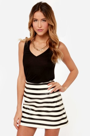 Mink Pink Next in Line Ivory and Black Striped Skirt