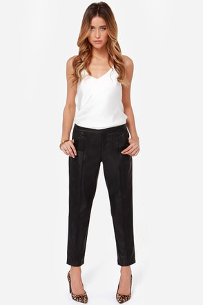 Mink Pink I Need You Cropped Black Vegan Leather Pants