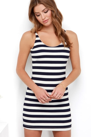 Lucy Love Keep It Simple Navy Blue Striped Dress at Lulus.com!
