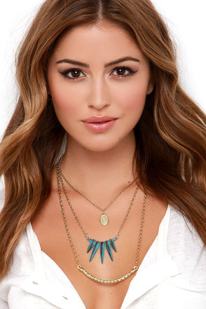 Up and Oasis Gold and Turquoise Layered Necklace at Lulus.com!
