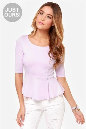 LULUS Exclusive Perk Up Lavender Peplum Top