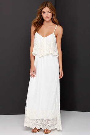 Stand in Awe Cream and Ivory Lace Maxi Dress at Lulus.com!