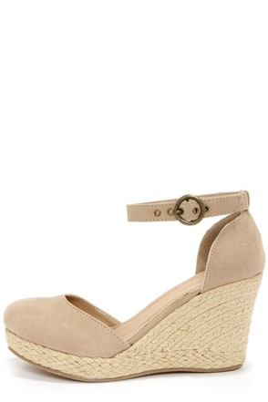 Bamboo Tessa 01 Taupe Espadrille Wedges