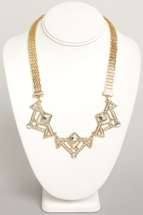 Art Decadence Gold Rhinestone Necklace
