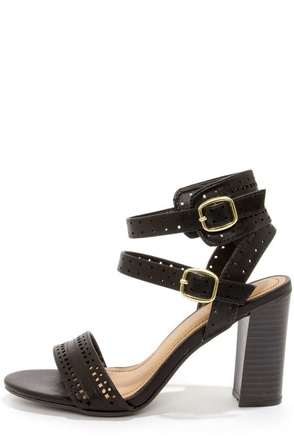 Bamboo Kendria 03 Black Cutout High Heels