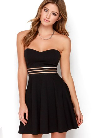 Be Still My Heart Black Strapless Skater Dress at Lulus.com!