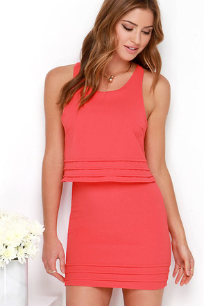 Dee Elle Tier Say Coral Red Dress at Lulus.com!