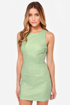 BB Dakota Doris Striped Mint Green Dress