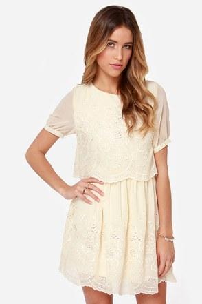 Floating on Heirloom Embroidered Cream Dress