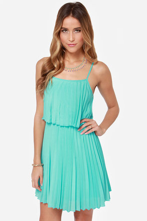 Pleats on Earth Turquoise Dress