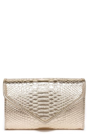 Reptile it Like it Is Gold Clutch at Lulus.com!