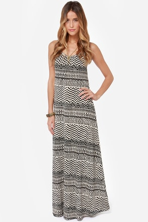 Mohave Miss Ivory and Black Print Maxi Dress
