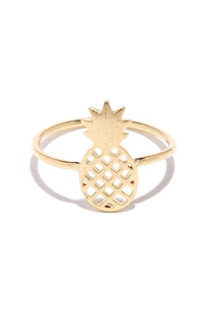 Pine-ing Away Gold Pineapple Ring at Lulus.com!