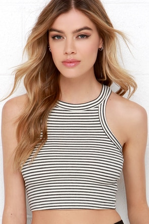 Rows Goes Cream and Washed Black Striped Crop Top at Lulus.com!